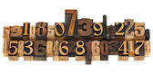 Random numbers in letterpress type — Stock Photo