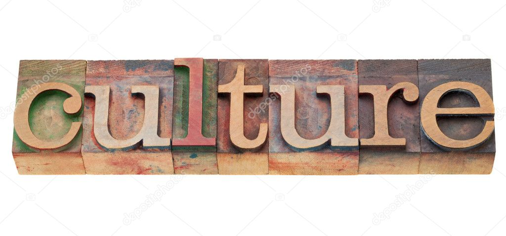 Culture - isolated word in vintage wood letterpress printing blocks  Stock Photo #6183061