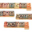 Thinking, feeling, intuition and sensation — 图库照片