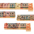 Thinking, feeling, intuition and sensation — Stock Photo