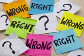 Wrong or right ethical question — Stock Photo