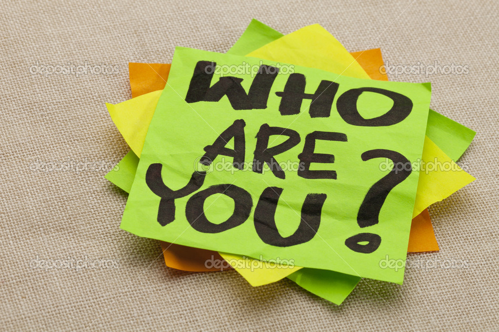Who are you question - handwriting on a green sticky note — Stock Photo #6291586