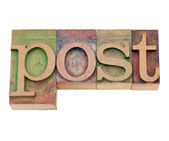 Post - word in letterpress type — Stock Photo