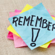 Remember on sticky note — Stock Photo