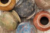 Grunge clay pots — Stock Photo