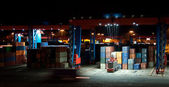 Commercial Container Port At Night — Stock Photo