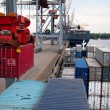Container Ship being (un)loaded — Stock Photo