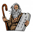 Moses Carrying The Ten Commandments On A Tablet - Stock Photo