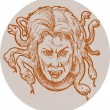 Stock Photo: Medusa greek Methology snakes as hair