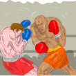 Stock Photo: Boxers boxing