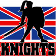 Knight with sword shield GB British Flag - Stock Photo