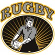 Постер, плакат: Rugby player passing ball