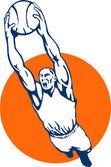 Topu dunking basketbolcu — Stok fotoğraf