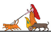 Freya Norse goddess riding chariot cat boar — Stock Photo