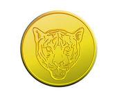 Pièce d'or montrant la tête d'un tigre — Photo