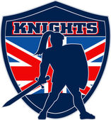 Knight with sword shield GB British Flag — Stock Photo