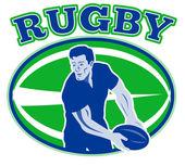 Widok z przodu przechodzi rugby piłka — Zdjęcie stockowe