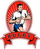 Rugby-spieler mit ball — Stockfoto