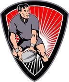 Rugby przechodzącą piłkę tarcza — Zdjęcie stockowe