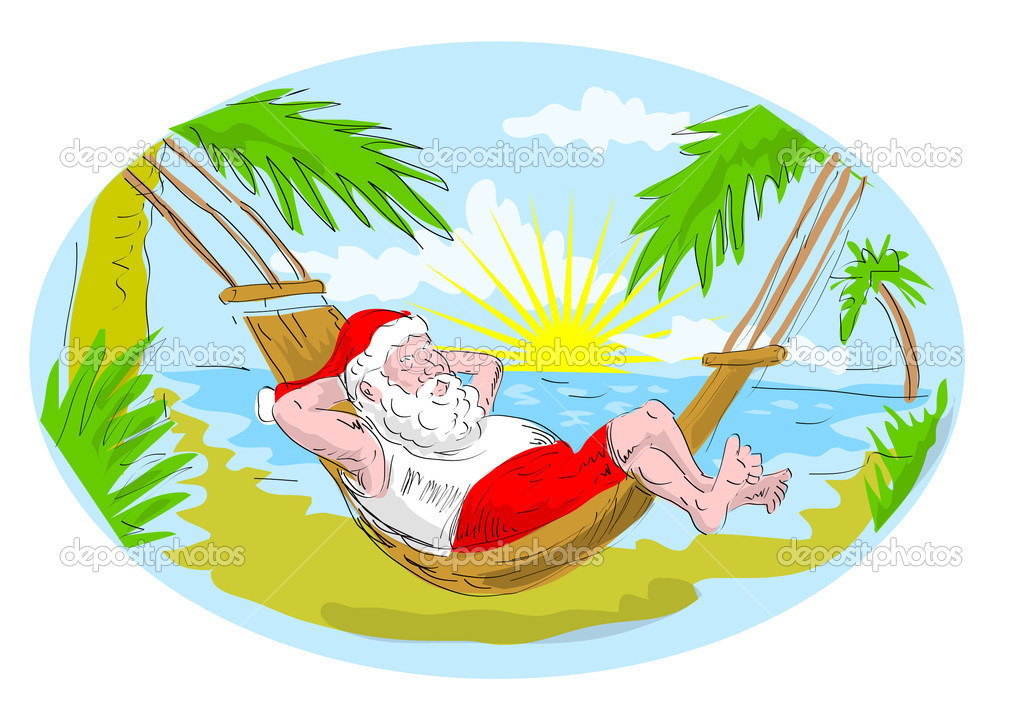Santa claus in hammock relaxing in tropical beach — Stock Photo ...