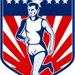 American Marathon runner stars and stripes — Foto de Stock