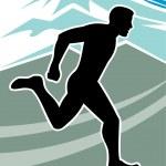 Постер, плакат: Marathon runner silhouette