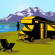 Fly fisherman fishing mountains camper van — Stock Photo #6365585