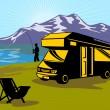 Fly fisherman fishing mountains camper van — Stock Photo