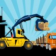 Royalty-Free Stock Photo: Forklift hoist crane load timber logging truck