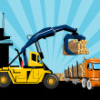 Forklift hoist crane load timber logging truck — Stock Photo #6365586