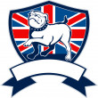 Proud english bulldog british flag shield — Stock Photo