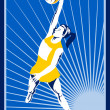 Netball player rebounding jumping for ball — Stock Photo