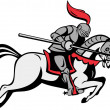 Knight with lance riding horse — Stock Photo
