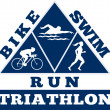 Triathlon swim bike run race — Stok Fotoğraf #6365649