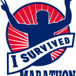 Marathon runner i survived - Stock Photo