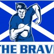 Rugby player scotland flag the brave — Stockfoto