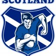 Rugby player scotland flag shield - ストック写真
