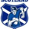 Rugby player scotland flag shield - Stock Photo