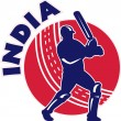 Cricket sports batsman batting India - Stock Photo