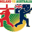 Cricket sports batsman England vs Australia flag — Stock Photo