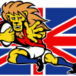 Cartoon British Lion rugby fending off GB flag - Stock Photo