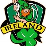 Irish leprechaun rugby player ball shamrock — Stock Photo #6365822