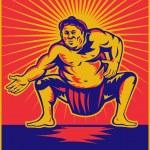 Постер, плакат: Sumo wrestler crouching retro woodcut