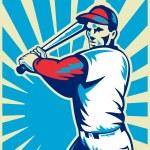Baseball player with bat batting — Stock Photo #6365850
