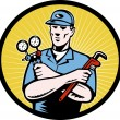 Repairman serviceman holding ac manifold gauge wrench - Stock Photo