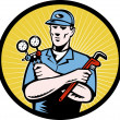 Repairman serviceman holding ac manifold gauge wrench — Stock Photo #6365878