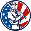 Baseball player holding bat american flag — Stock Photo #6365905