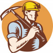 Stock Photo: Coal miner at work with pick ax