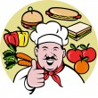 Chef cook baker thumbs up fruit sandwich food — Stock Photo