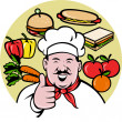 Chef cook baker thumbs up fruit sandwich food — Stock Photo #6365995